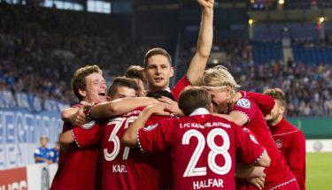 Jubel FCK Spieler, Halfar,Heubach,Karl,Ziegler,Vucur