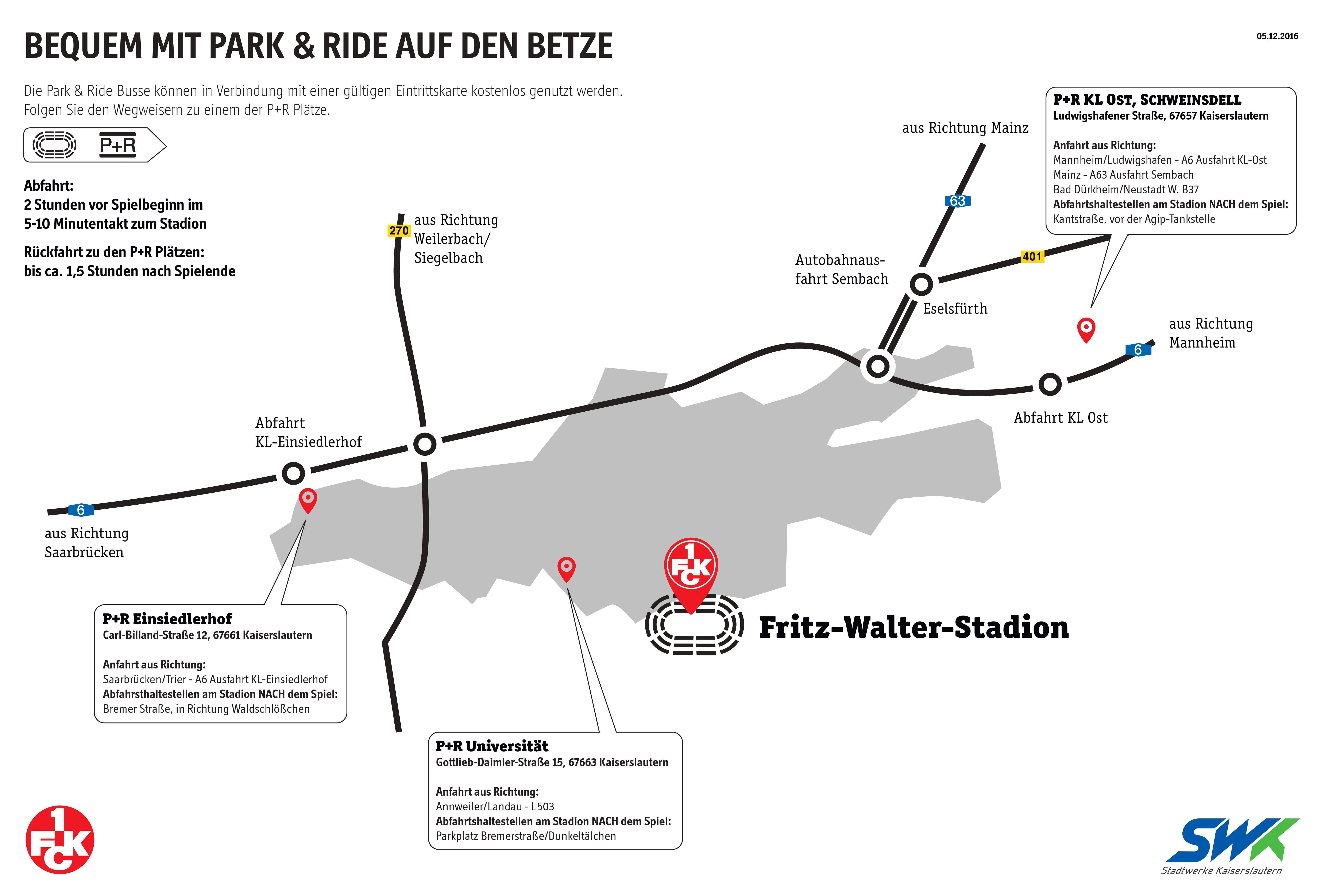 Lagpelan zum Park & Ride-Angebot der Stadtwerke Kaiserslautern und des FCK