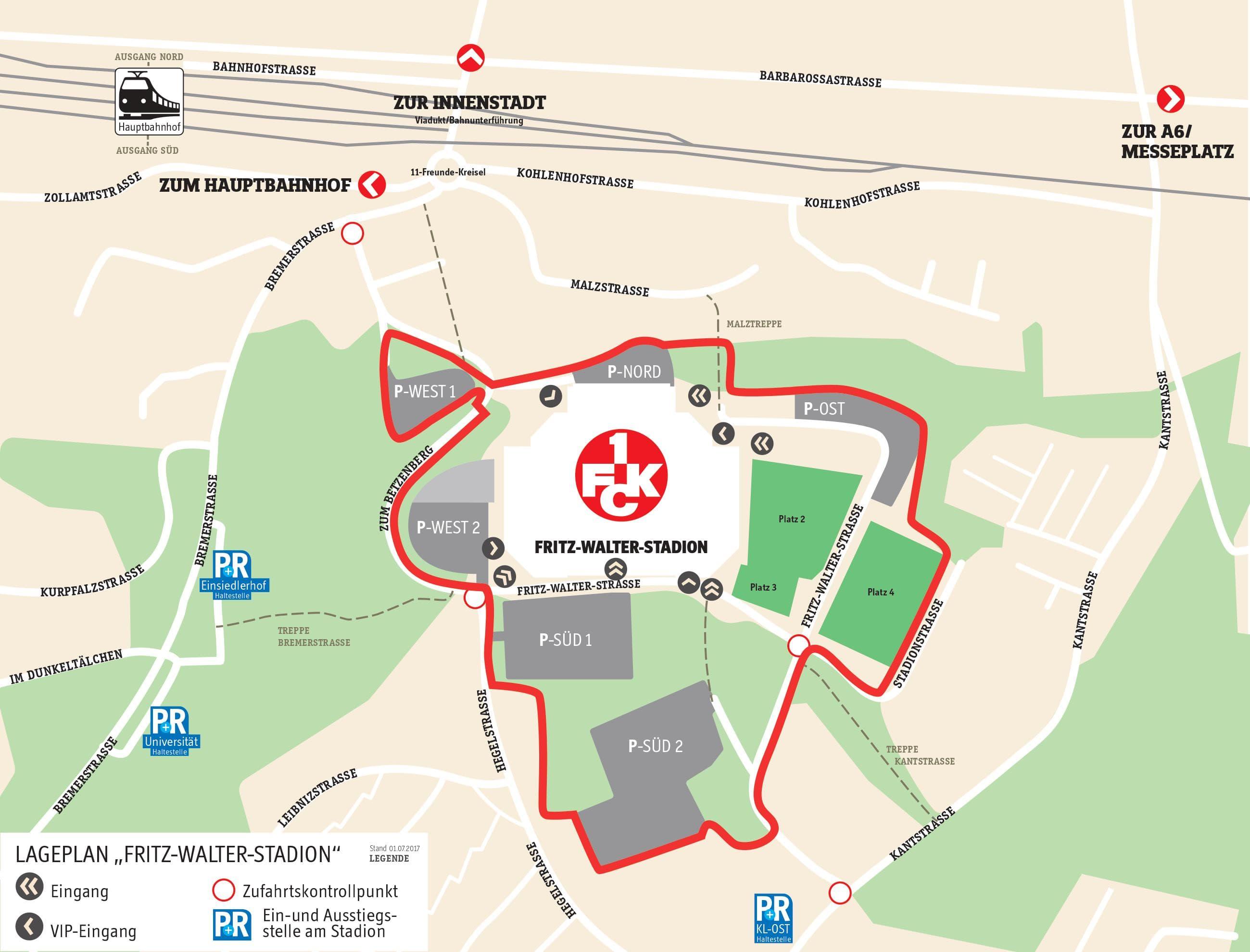 Der Stadionplan des Fritz-Walter-Stadions