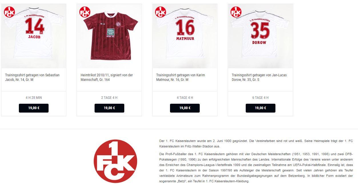 Screenshot der Seite www.sport-auktion.de