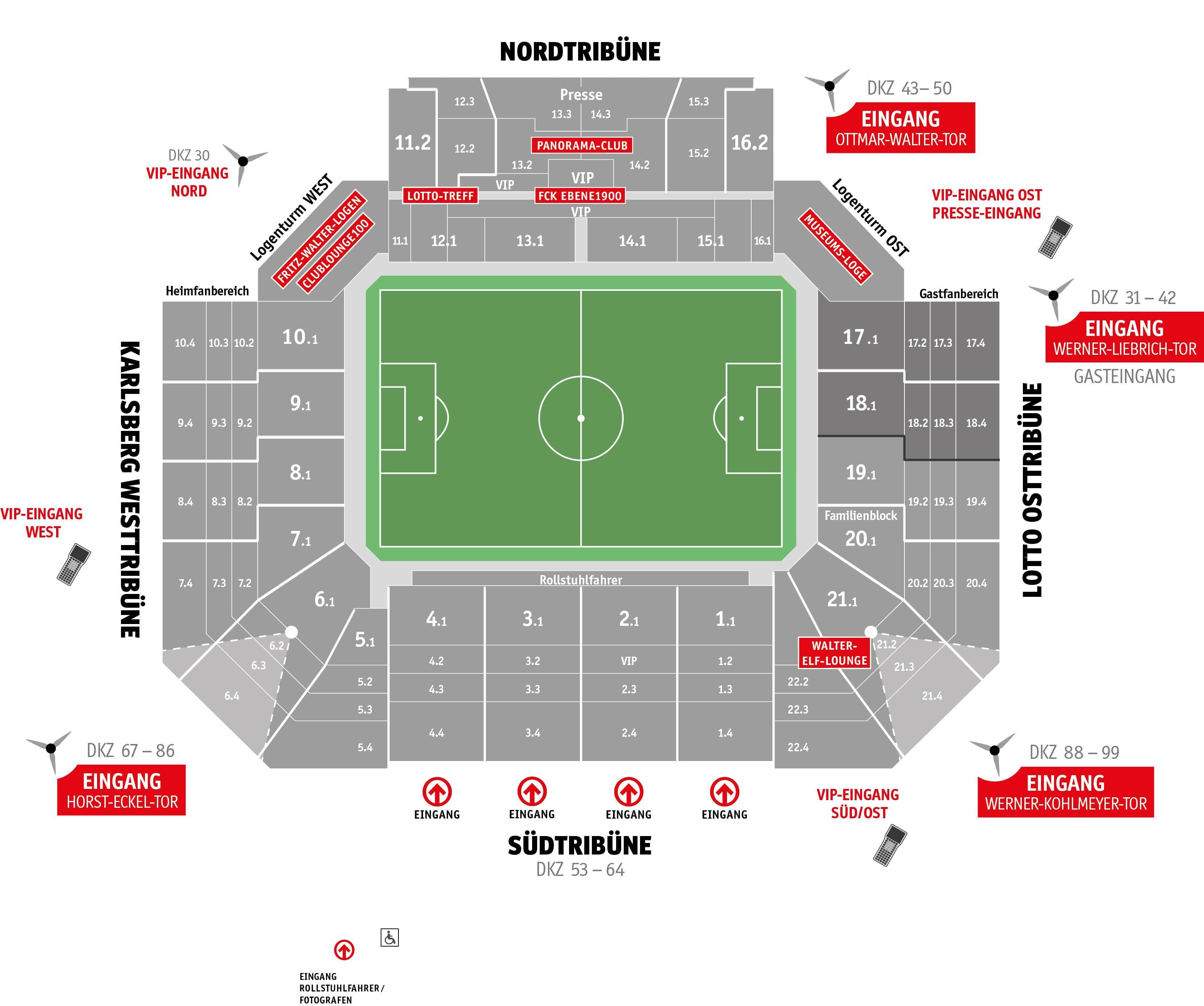 Ein Stadionplan des Fritz-Walter-Stadions