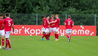 U19 jubelt über den Führungstreffer von Torben Müsel beim 3:1 gegen Unterhaching