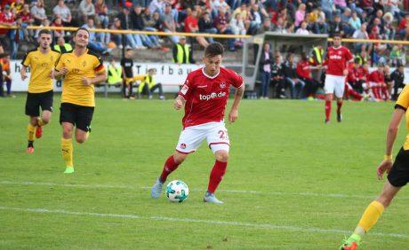 Baris Atik am Ball beim Benefizspiel in Oppau, 31. August 2017
