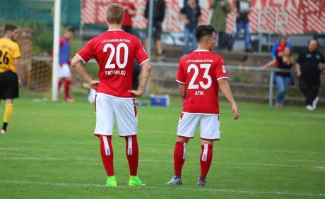 Kacper Przybylko und Baris Atik beim Benefizspiel in Oppau, 31. August 2017