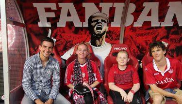 FCK-Fanbank mit Christoph Moritz beim Heimspiel gegen Braunschweig