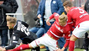 Nils Seufert und Joel Abu Hanna im Spiel gegen Heidenheim.