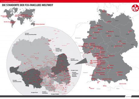 Übersichtskarte der Standorte der über 400 FCK-Fanclubs