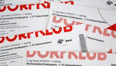 Die Tickets für das Auswärtsspiel gegen die SG Sonnenhof Großaspach gehen am 23. Juli 2018 in den Vorverkauf