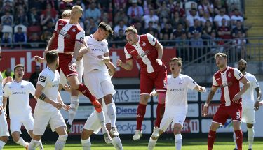 Standardsituation beim Heimspiel gegen Hansa Rostock
