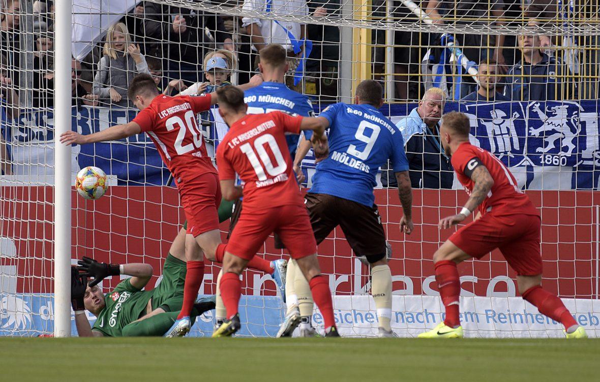 Nach einer Ecke erzielte der TSV 1860 München das 1:0 gegen den FCK