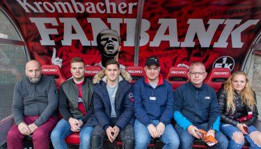 Beim Heimspiel gegen Würzburg besuchte Dominik Schad die Fans auf der Krombacher Fanbank