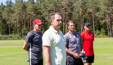 Andreas Clauß, Boris Notzon, Alexander Bugera und Michael Waßner beim Trainingsauftakt der U21