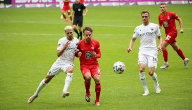 Simon Skarlatidis im Zweikampf mit Anas Ouahim (SV Sandhausen)