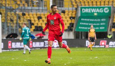 Torschütze Kenny Prince Redondo jubelt in der Partie bei Dynamo Dresden © Dennis Hetzschold