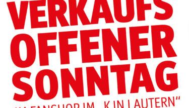 """Plakat Verkaufsoffener Sonntag im Fanshop im """"K in Lautern"""""""
