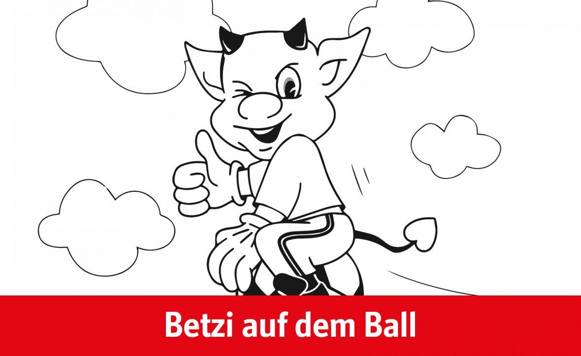Ausmalvorlage Betzi auf dem Ball